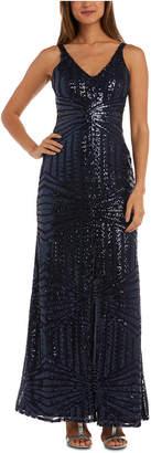 Night Way Nightway Geo-Sequined Gown