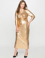 ELOQUII Plus Size Studio Metallic Textured Wrap Dress