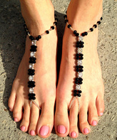 Black & Clear Crystal Barefoot Sandal