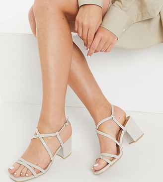New Look Wide Fit strappy block heeled sandal in mink