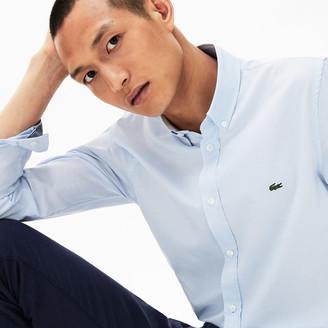 Lacoste Men's Slim Fit Polka Dot Cotton Poplin Shirt