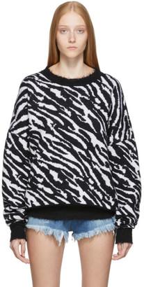 Unravel Black and White Zebra Oversized Crewneck Sweater