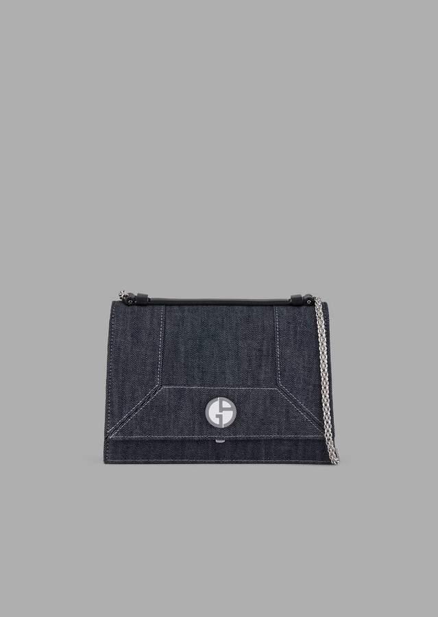 Giorgio Armani Denim Cross-Body Bag With Logo Detail