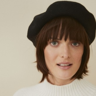 The White Company Wool Beret, Black, One Size