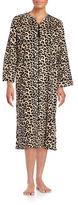 Miss Elaine Leopard-Print Zip-Front Robe