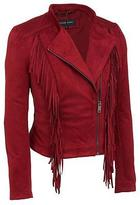 Black Rivet Womens Stand Collar Faux-Suede Jacket W/ Fringe Detail