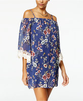 Amy Byer Juniors' Printed Off-The-Shoulder Shift Dress