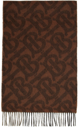 Burberry Reversible Brown Cashmere Mega Check and Monogram Scarf