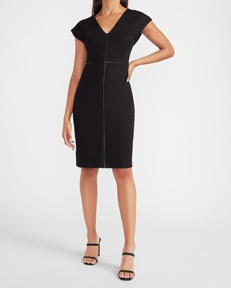 Express Vegan Leather Pieced Sheath Dress