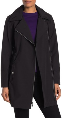 Via Spiga Water-Repellent Hooded Faux Leather Trim Soft Shell Zip Jacket