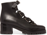 Valentino Plum Lace-up Leather Boots - Black