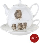 Portmeirion Wrendale Tea For One With Saucer (owls) By Royal Worcester