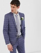 Asos DESIGN wedding slim suit jacket in linen blue check