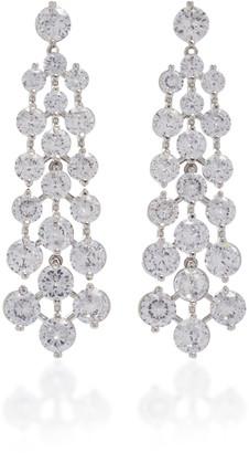 Fallon Tracks Rhodium-Plated Crystal Earrings