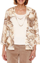 Alfred Dunner Twilight Point 3/4 Sleeve Layered Top - Petites