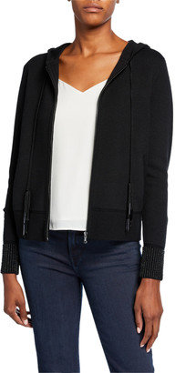 Kobi Halperin Reta Zip-Front Long-Sleeve Fringe-Trim Hooded Sweater