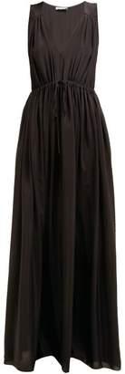 Three Graces London Solaine Drawcord-waist Crepe De Chine Maxi Dress - Womens - Black
