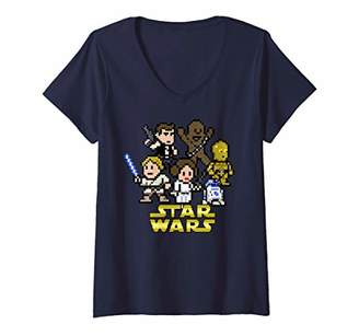 Star Wars Womens Pixel Characters Group Shot V-Neck T-Shirt
