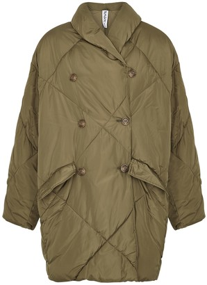 Free People Ella Army Green Quilted Shell Coat