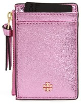 Tory Burch Women's Crinkle Metallic Leather Card Case - Pink