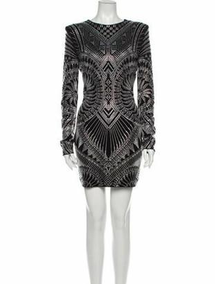 Balmain Printed Mini Dress w/ Tags Black