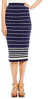 M.S.S.P. Striped Knit Jersey Pencil Skirt