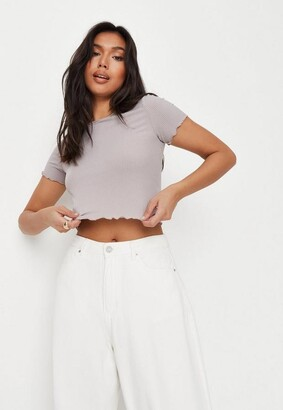 Missguided Petite Gray Waffle Crew Neck Crop Top