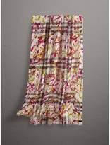 Burberry Splash Print and Check Lightweight Wool Silk Scarf