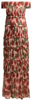 Adriana Degreas Fiore Protea-print Tiered Silk Maxi Dress - Womens - Pink Print