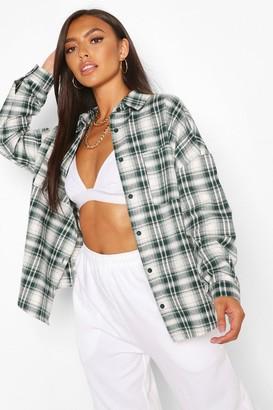 boohoo Navy Petite Oversized Check Shirt