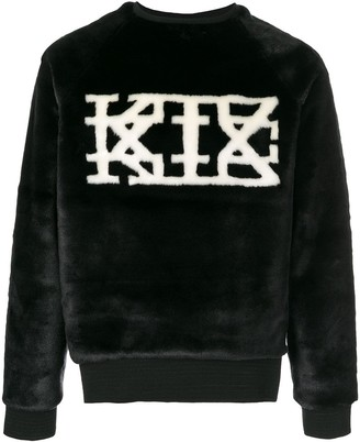 Kokon To Zai logo faux-fur sweatshirt