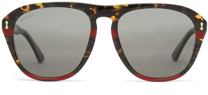 Gucci Web-striped aviator acetate sunglasses