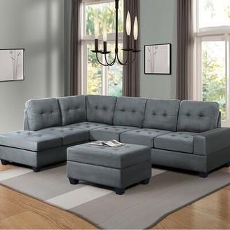 "Latitude Run Durmish 104"" Wide Microfiber/Microsuede Reversible Modular Sofa & Chaise with Ottoman Fabric: Gray Microfiber/Microsuede"