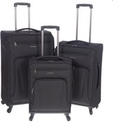 Renwick Lightweight 3 Piece Spinner Carry On and Suitcase Luggage Set Black