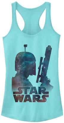 Fifth Sun Star Wars Boba Fett Posing In Galaxy Ideal Racer Back Tank