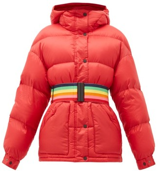 Perfect Moment Oversized Rainbow-belt Down-filled Ski Jacket - Womens - Red