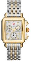 Michele Deco 18 Diamond, Mother-Of-Pearl, 18K Goldplated & Stainless Steel Chronograph Bracelet Watch