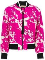 No.21 floral and bird print bomber jacket