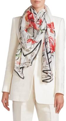Alexander McQueen Endangered Floral Cotton & Silk Scarf