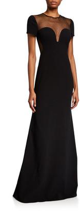 Jill by Jill Stuart Sweetheart Mesh Illusion Cap-Sleeve Gown
