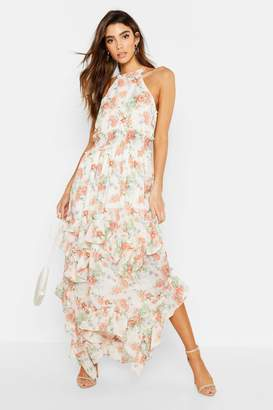 boohoo Floral Shirred Waist Ruffle Detail Maxi Dress