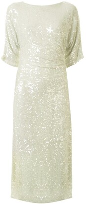 Sally LaPointe Sequin Dolman Midi Dress