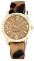 Nine West Women's NW/1786CMLE Gold-Tone Watch with Leopard-Print Leather Band