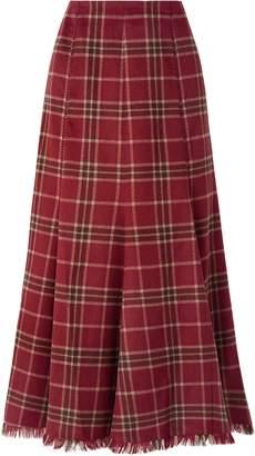 Gabriela Hearst Amy Pleated Tartan Cashmere And Silk-blend Midi Skirt