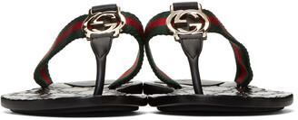 Gucci Black GG Thong Sandals