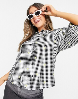 New Look gingham blouse with floral embroidery in black check