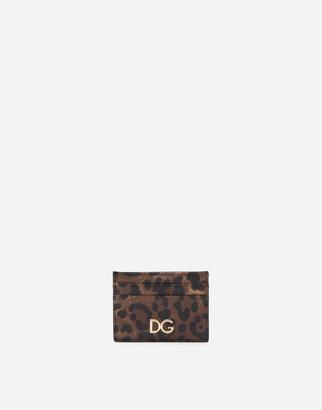 Dolce & Gabbana Leopard Print Dauphine Calfskin Card Holder