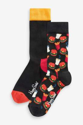 Happy Socks Hamburger Socks Two Pack - Black