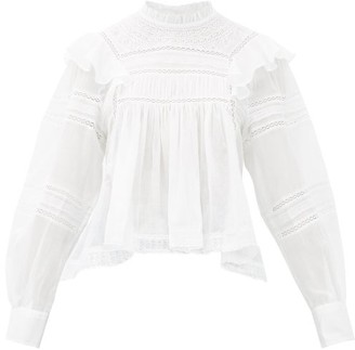 Etoile Isabel Marant Viviana High-neck Ruffled Cotton Blouse - White