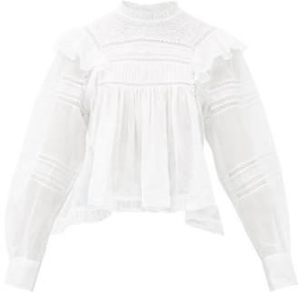 Etoile Isabel Marant Viviana High-neck Ruffled Cotton Blouse - Womens - White